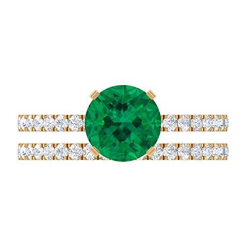 Rosec Jewels 10 quilates oro amarillo Round Brilliant Green Moissanite Turmalina Verde