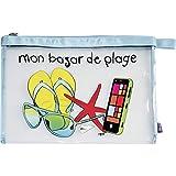 Incidence Paris 60035 Trousse à maillot de bain Krystal Mon bazar de plage Transparent et multicolore PVC et nylon Fermeture zip, 32 cm, Transparent