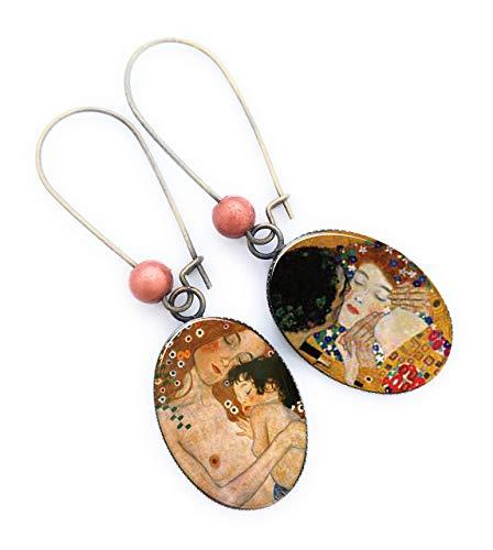 Boucles d'oreilles Klimt, bijoux klimt, mère à l'enfant,...