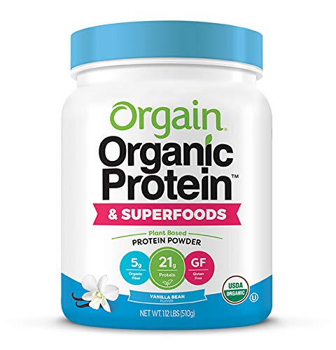 Orgain Organic Protein Powder, Vanilla Bean - Vegan, Plant Based, 6g of Fiber, No Dairy, Gluten, Soy or Added Sugar, Non-GMO, 1.12 Lb (Packaging May...