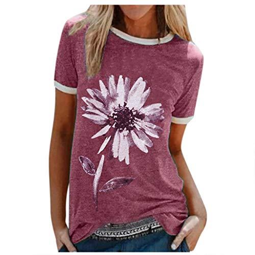 Xniral Damen Good T-Shirt Chrysantheme Muster Shirt Rundhals Kurzarm Oberteile Hemd Tops Bluse Sommer Oben Grafik Drucken Tee(c-Rot,XXL)