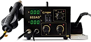 YAOGONG 2 in 1 SMD Digital Rework Soldering Station Hot Air Lead-Free Soldering Iron 852AD+ ESD PLCC BGA with 3 Nozzle and 6 Tips(110V) …