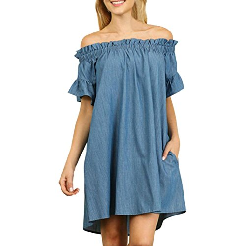 SHOBDW Tallas Grandes para Mujer Fuera del Hombro Slash Cuello Vaquero Camiseta Vestido Tops Sueltos (5XL, Azul-2)