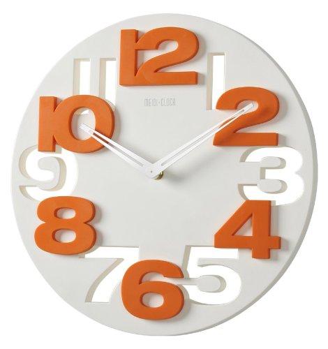 GMMH 3 D Design Orologio da Parete 8808 da Cucina Orologio da Bagno Orologio da Ufficio Decorazione silenziosa (Bianco Arancione)