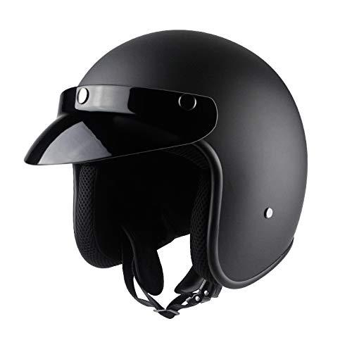 OLEEKA Casco sintético de cuero artificial para motocicleta Retro Vin
