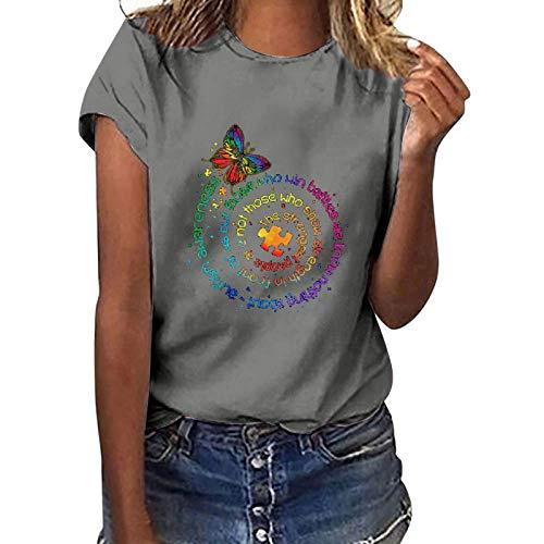 Eaylis Damen Lässige Briefdruck T-Shirt Kurzarm Bluse O-Ausschnitt Top Loose T-Shirt Bluse Tops Baggy Toppe Oberteile Pullunder Vintage Casual Oversize Bluse