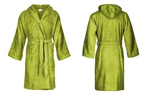 Bassetti - Albornoz con capucha para hombre/mujer, disponible en varias tallas y colores, 100% algodón Verde Bambú M