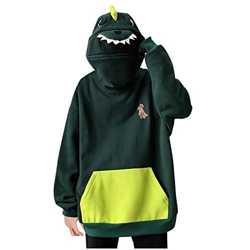 SHOBDW Hoodie Damen Sweatshirt mit Kapuze Japanischen Stil Kawaii Karikatur Kapuzenpullover Mädchen Herbst und Winter Pullover für Party Reisen Tägliche Dinosaurier Pullover Damen