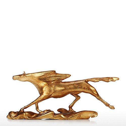 Extaum Surf Jagd Wild Galloping Horse Figur Statue Geschenke und Dekor Home Decor Gold, geeignet für Geburtstag,Weihnachten,Thanksgiving