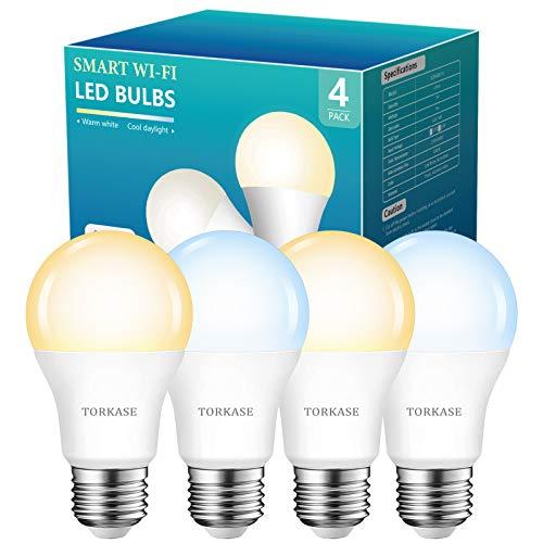 Smart Light Bulbs Work with Alexa and Google Home -No Hub Required, WiFi LED Bulb 2700K Warm White...