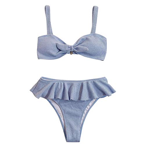 MUGE LEEN Mujeres Sexy 2 Piezas Conjunto de Bikini Acanalado Bowknot Traje de baño Volantes Tanga Traje de baño Mujeres Traje de baño Azul Claro