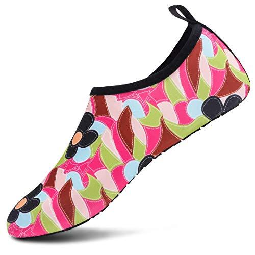 VIFUUR Meias aquáticas esportivas sem sapatos de secagem rápida Aqua Yoga sem cadarço para homens e mulheres, Black/Pink/Green, 7.5-8.5 Women/6-7 Men