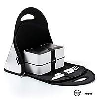 tallybo® porta pranzo kit completo - lunch box con 3 posate, bacchette, vaschetta condimento, divisore e borsa termica porta pranzo - adatto in microonde, lavastoviglie, frigo