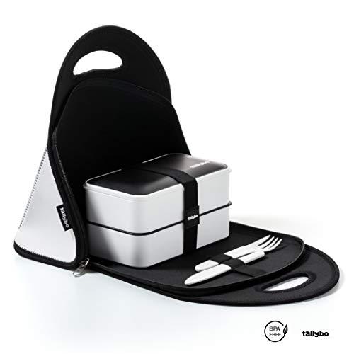 Tallybo Porta Pranzo Kit Completo - Lunch Box con 3 Posate, Bacchette, Vaschetta Condimento, Divisore e Borsa Termica Porta Pranzo - Adatto in Microonde, Lavastoviglie, Frigo