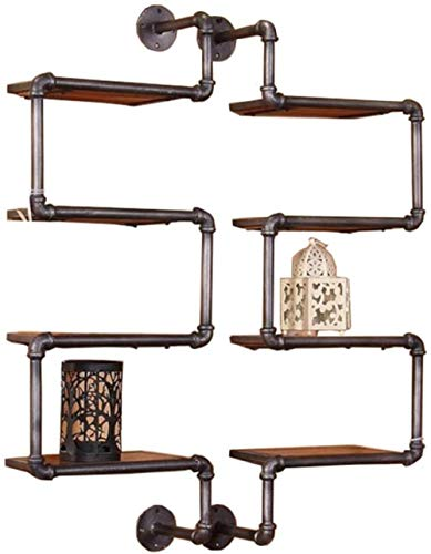 DALUXE Regal für Wände 4 Tiers Schwimmdock Regale - Wasserrohr Dekorative Wand befestigten Corner und Rahmen Holz Retro-Stil-Rack Aufbockvorrichtung mit Regal Schindel Eisen Lagerung A. im