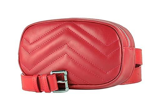 Marsupio con Cintura da Donna in Vera Pelle - FLORA - BORDERLINE - 100% Made in Italy - (Rosso)