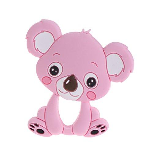 JIUYECAO Mordedor molar de silicona Koala, rosa claro, mordedores de bebé, juguetes de dentición de silicona para masticar encantos de los bebés Bpa gratis collar colgante