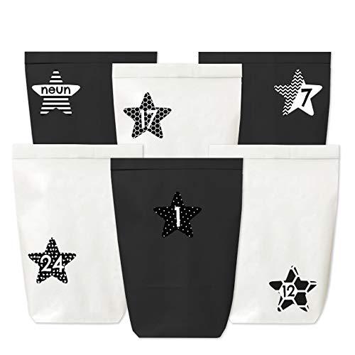 Adventskalender zum Befüllen - 24 Papiertüten in schwarz und weiß sowie 24 Zahlenaufkleber (schwarz-weiße Sterne) - zum Selbermachen und Befüllen - Mini Set 40 - Weihnachten