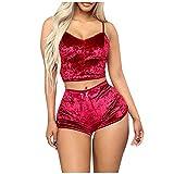 XUNN Damen Mode Sexy Velvet 2 Stück Strampler Outfit Ärmelloses Crop Tops Camisole + Shorts