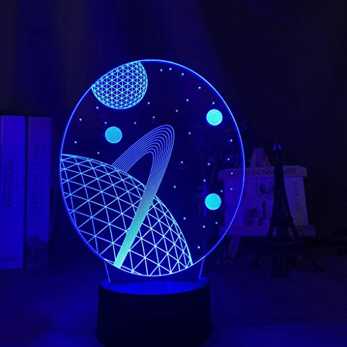CHENs 3D Illusion Baby Night Light Space Planet Nightlight for Kids Child Bedroom Decoration USB Battery Powered Desk Unique Lamp Gift