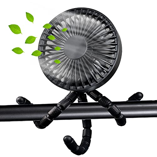 ANBOVES Portable Stroller Fan Battery Operated Mini Handheld Personal USB Fan, Flexible Tripod Clip On Fan with 3 Speeds for Car Seat Crib Bike Camping