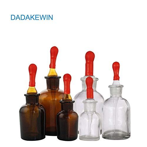DADAKEWIN Tropfflaschen aus Bernstein und klarem Glas, Set mit roter Gummikappe Glas-Augentropfen für Laborchemikalien, Jod, Medizin - Packung mit 6-30 ml, 60 ml, 120 ml (Size : 30ML60ML125ML)
