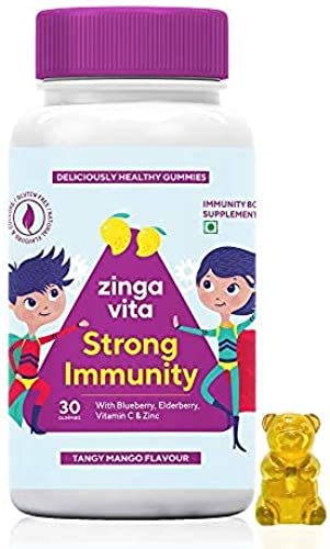 Zingavita Strong Immunity Multivitamin Gummies for Kids Vitamin C Zinc and Immunity Booster Phytonutrients Elderberry and Blueberry 30 Veg Gummy Bears Natural Tangy Mango Flavour 1 Daily