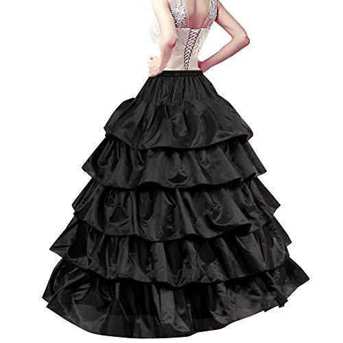 LONGBLE Reifrock Petticoat Unterrock, 5 Rüschen - 4 Ringe verstellbar Krinoline Damen lang Unterröcke für Hochzeitskleider Ballkleider Abendkleider Brautkleider Promkleider