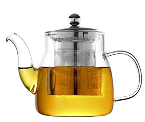 HaoLi 600ml Glass Teapot with Removable Infuser, Stovetop Safe Tea Kettle, Blooming and Loose Leaf Tea Maker Set