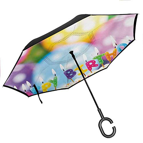 Kids Birthday Reverse Folding Inverted Umbrella Celebration Colorful Candles on Party Cake with Abstract Blurry Backdrop Double Layer Reverse Rain&Wind for UV Protection & Rain, 42.5'x31.5'Inch