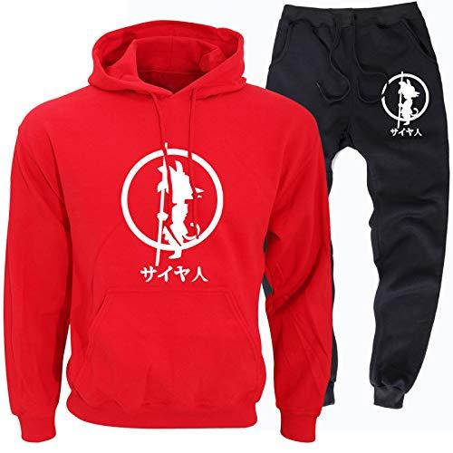 GIRLXV Sudaderas con Capucha Goku para Hombres Ocasionales Suéter de Anime Ropa Deportiva para Correr Traje Pantalones de Calzado para Hombres L