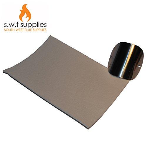 Ofenrohr-/Ofenglasdichtung, Dichtungsmaterial, für Holzbrenner und Öfen für verschiedene Brennstoffe, 155 x 297 x 3mm