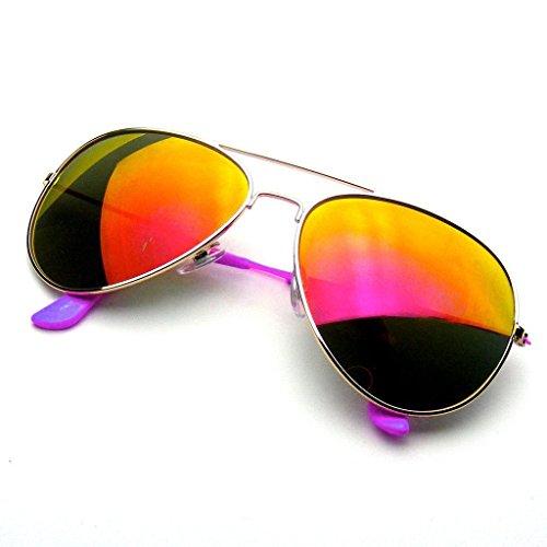 Emblem Eyewear - Occhiali Da Sole Aviatore Con Mirroring Completo Di Specchio Flash Di Riflettente Classic Premium (Viola)