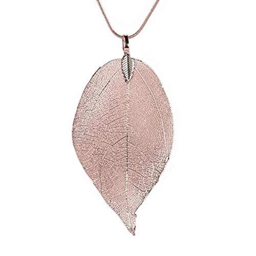 Scpink Venta de liquidación Collar, hojas especiales, colgante, joyería, aleación, suéter, cadena larga (Oro rosa)