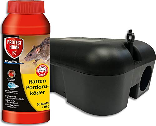 SBM Rattenbekämpfung Protect Home Rodicum Ratten Portionsköder + Profi Köderbox Köderstation