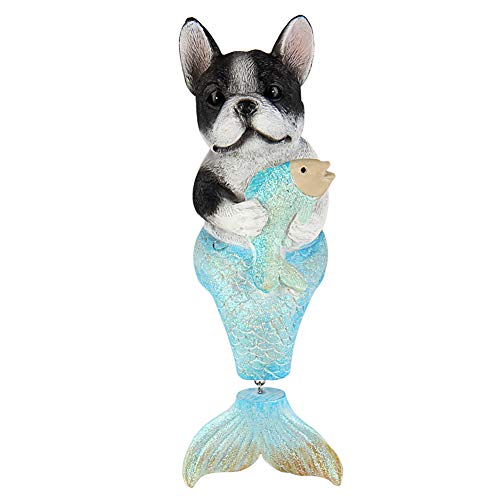 Bownew Dog Mermaid Figurines Outdoor Garden Statues Resin Animal Theme Decorations for Home, Bathroom and Patio