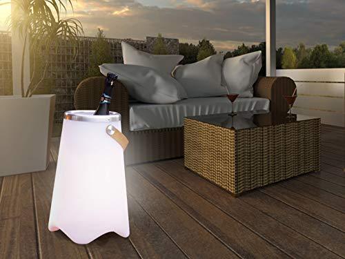 meineWunschleuchte 3in1 LED Leuchte CALLOON mit Bluetooth Lautsprecher und Fernbedienung – RGB Farbwechsel & Flaschenkühler mit praktischem Ledergriff, Höhe 50cm- für Indoor & Outdoor (IP44)