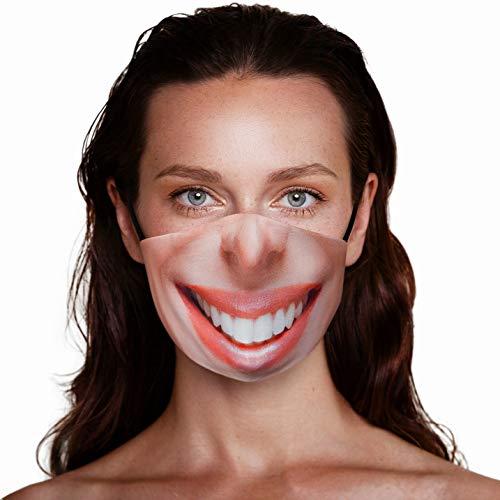 Mund und Nasenschutz Lustig mit Motiv | Stoff-Maske Mundschutz Waschbar Wiederverwendbar Atmungsaktiv | Lachen Mund Smiley Schwarz Baumwolle (1 x 1 Einheit) (Smile)
