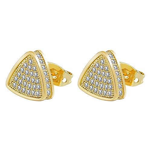 Beydodo Pendientes Triángulo y Redondo Circonita Blanca Pendiente Cobre Mujer Oro