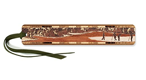 Golfers on The Green Engraved Wooden Bookmark with Suede Tassel - Search B07GQGKBR5 to See Personalized Version