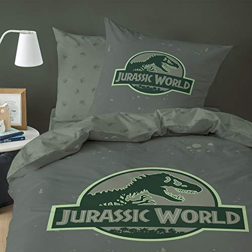 Jurasic World Logo Parure, 100% Baumwolle, grün, 140 x 200 + 63 x 63 cm, französische Größe