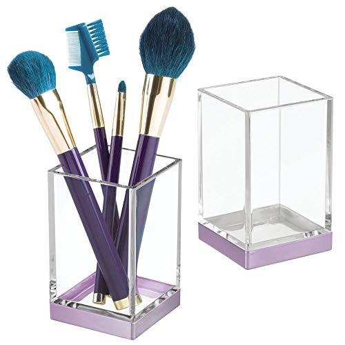 mDesign Juego de 2 organizadores de baño Decorativos de plástico sin BPA – Porta cepillos para Utensilios de baño – Vaso para cepillos de Dientes, maquinillas o cosméticos – Transparente y Vio