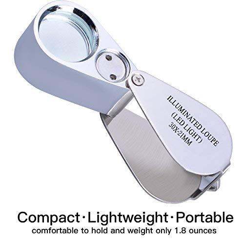 Juwelierlupe, 30 x Vollmetall, beleuchtet, faltbares Design, tm-home Taschenlupe mit LED-Licht