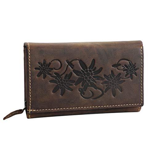 HAROLDS - Damengeldbörse Leder- Exklusive XL Damenbörse, Portemonnaie, Lederbörse, Geldbeutel - sehr fein strukturiertes Buffalo Leder mit Blumen Motiv - präsentiert von ZMOKA® (Braun)