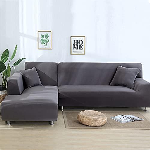 Funda elástica para sofá de 3 plazas, funda de sofá con 2 fundas de almohada para sofá en forma de L