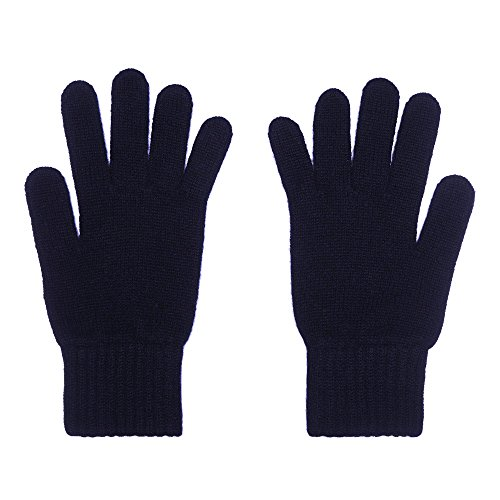2-schichtige Damenhandschuhe aus purem Kaschmir, marineblau