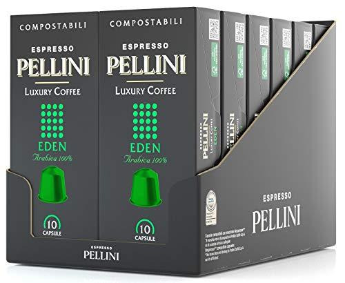 Pellini Espresso Luxury Coffee Eden, Nespresso-kompatible Kapseln und Selbstgeschützte KOMPOSTIERBARE Kapseln (12 Packung mit 10 Kapseln, gesamt 120 Kapseln), 600 g