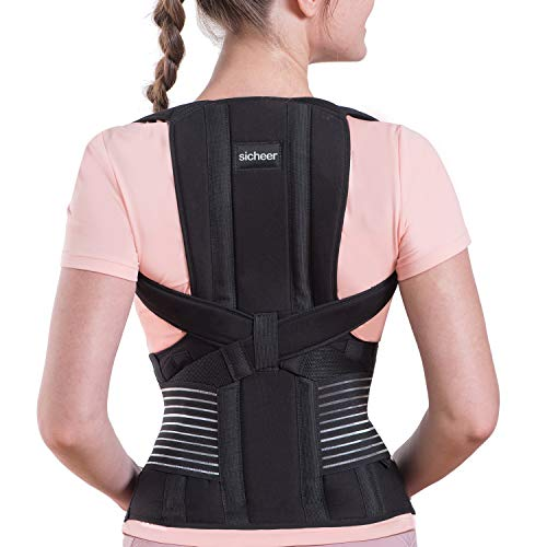 Posture Corrector for Women and Men Back Brace Straightener Shoulder Upright Support Trainer for Body Correction and Neck Pain Relief, Large(waist 36-41 inch), by Sicheer
