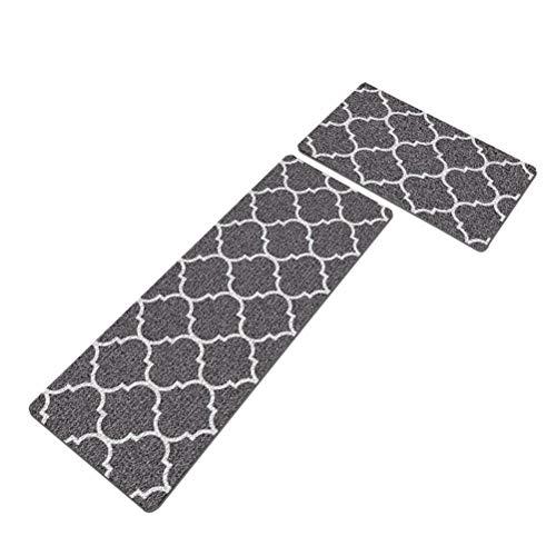 Prevessel Juego de 2 alfombrillas de cocina antideslizantes, cómodas y resistentes, resistentes a las manchas, respaldo de goma para interiores y exteriores (40 x 60 cm + 40 x 120 cm)