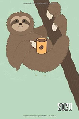 2020: Wochenkalender A5 mit Faultier und Kaffee - 365 Tage planen, notieren und erledigen. Struktur & Produktivität / Notizbereiche / Jan - Dez